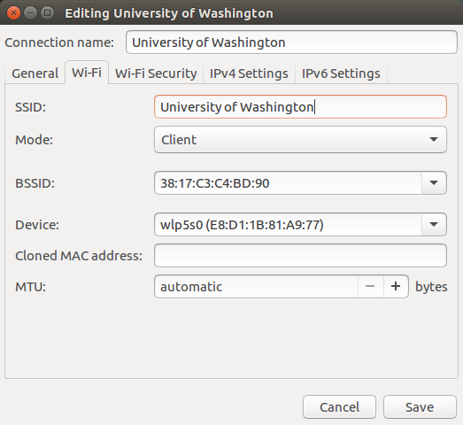 Wi-Fi tab with BSSID and SSID set
